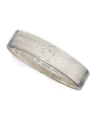 Engraved Turnlock Bangle, Silver