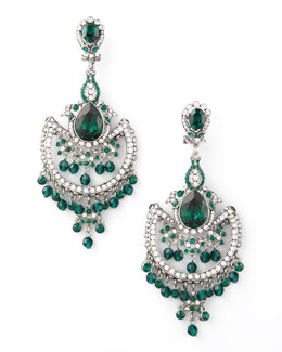Jose & Maria Barrera Green & White Crystal Chandelier Earrings