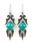 Crystal & Pave Sapphire Drop Earrings