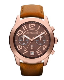 Michael Kors  Mid-Size Rose Golden Leather Mercer Three-Hand Watch