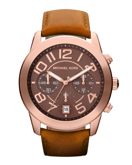 Mid-Size Rose Golden Leather Mercer Three-Hand Watch
