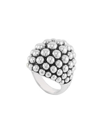 Bold Caviar Large Sterling Silver Dome Ring