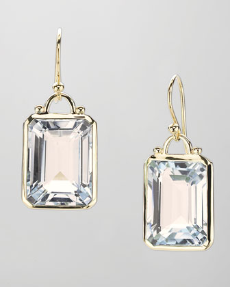 Square White Quartz Drop Earrings