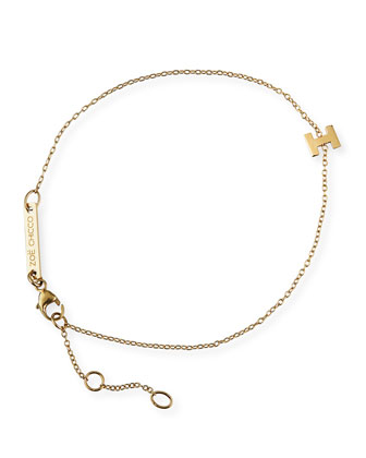 Gold Block Initial Bracelet