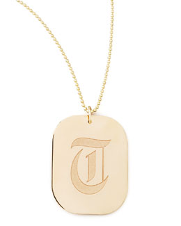 Zoe Chicco Rounded Rectangle Initial Pendant Necklace