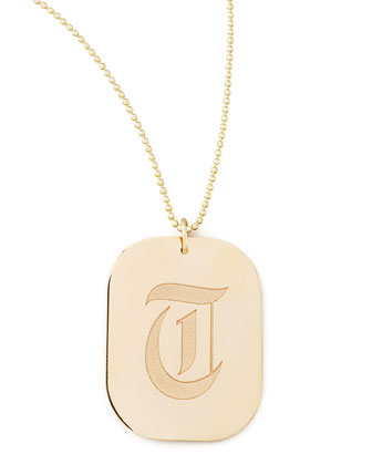 Rounded Rectangle Initial Pendant Necklace