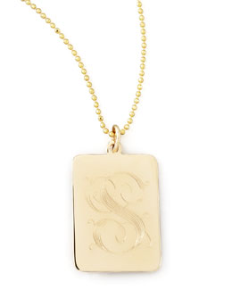 Zoe Chicco Rectangle Initial Pendant Necklace
