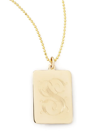 Rectangle Initial Pendant Necklace
