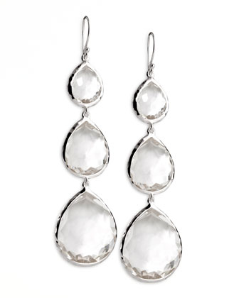 Triple Teardrop Earrings, Clear Quartz
