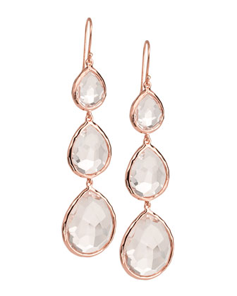 Triple-Drop Rose Earrings, Clear Quartz