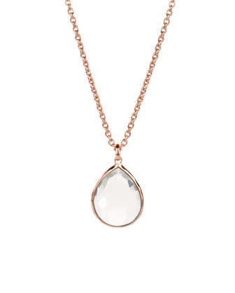 Rose Clear Teardrop Pendant Necklace