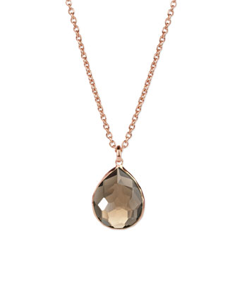 Rose Smoky Teardrop Pendant Necklace