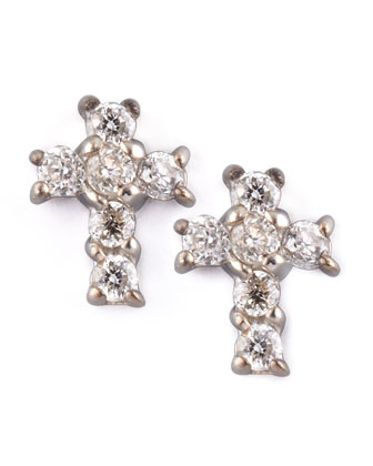 Diamond Cross Earrings, White Gold