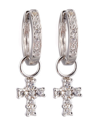 Cross-Charm Huggie Earrings