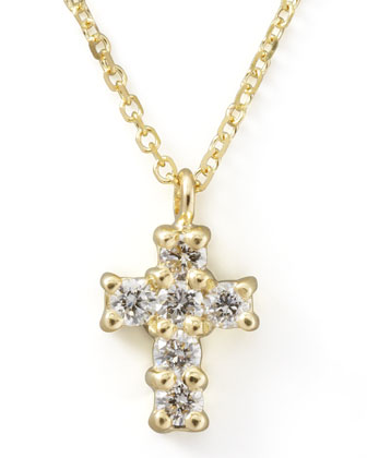 Small Diamond-Cross Pendant Necklace, Yellow Gold
