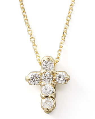 Diamond-Cross Pendant Necklace, Yellow Gold