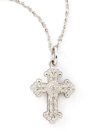 Byzantine Cross Necklace, White Gold