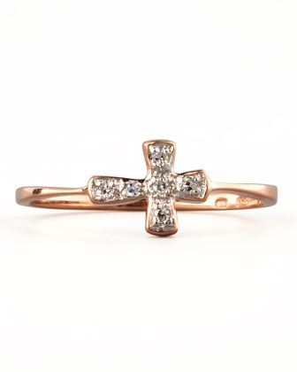 Diamond-Cross Stacking Ring, Rose Gold