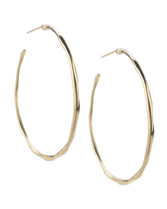 Yellow Gold Squiggle Hoop Earrings