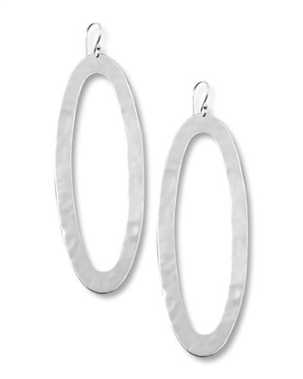 Silver Oval-Drop Earrings