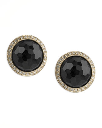 Lollipop Onyx & Diamond Stud Earrings