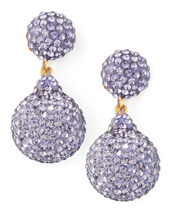 Pave Crystal Double-Drop Earrings, Lavender