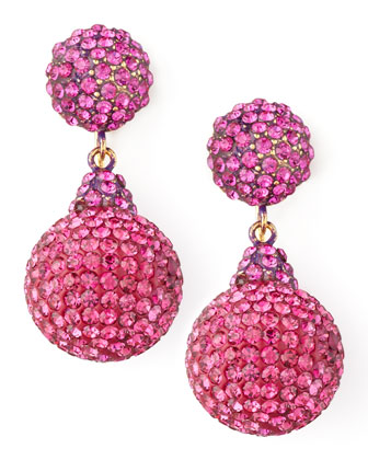 Pave Crystal Double-Drop Earrings, Fuchsia