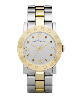 MARC by Marc Jacobs Amy Two-Tone Watch, Stainless Steel/Yellow Golden