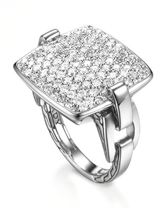Classic Chain Cushion Ring, Diamond