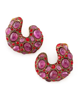 Oscar de la Renta Curved Cabochon Earrings, Pink