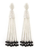 Oscar de la Renta Beaded Long Tassel Earrings, White/Black