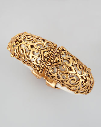Filigree Resin Hinged Cuff, Ivory