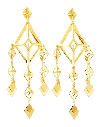 Gold Large Lattice Chandelier Earrings