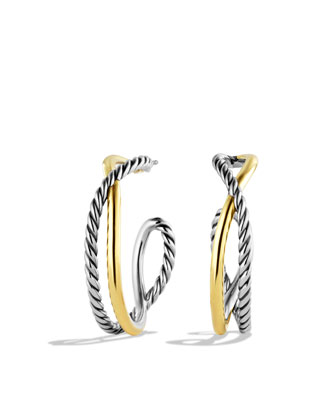 Crossover Hoop Earrings with Gold