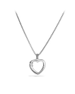 David Yurman X Collection Heart Necklace, Diamonds, 19.3 x 20.6mm