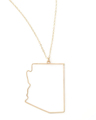 Gold State Pendant Necklace, Arizona