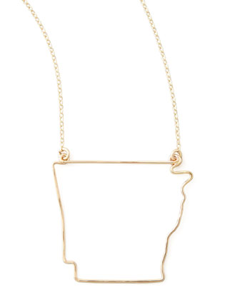 Gold State Pendant Necklace, Arkansas
