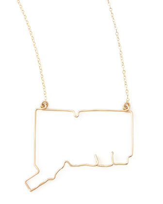 Gold State Pendant Necklace, Connecticut