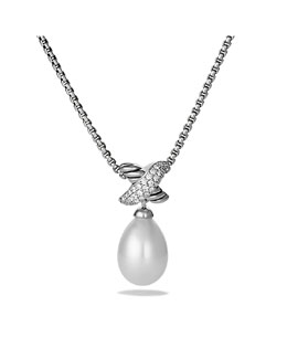 "David Yurman X Pearl Pendant, Diamonds, 17""L"