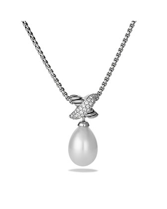 X Pearl Pendant with Diamonds on Chain