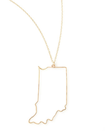 Gold State Pendant Necklace, Indiana