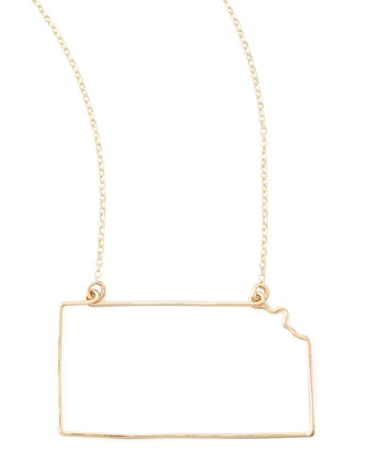 Gold State Pendant Necklace, Kansas