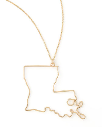 Gold State Pendant Necklace, Louisiana