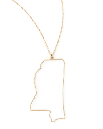 Gold State Pendant Necklace, Mississippi