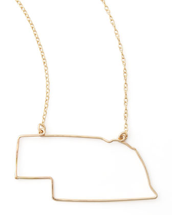 Gold State Pendant Necklace, Nebraska