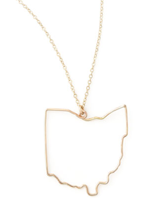 Gold State Pendant Necklace, Ohio