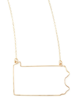 Gold State Pendant Necklace, Pennsylvania