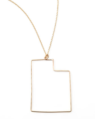 Gold State Pendant Necklace, Utah