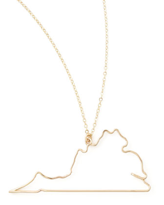 Gold State Pendant Necklace, Virginia