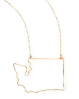 Gold State Pendant Necklace, Washington